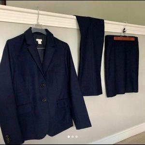 J. Crew Petite Three Piece Navy Suit